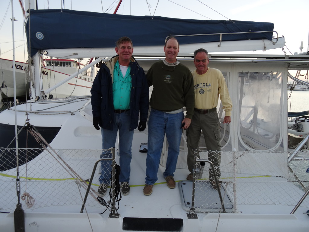 The crew on Friday morning before we left Port A. Jack Green, Clark, and Tim Clipson.