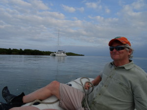 Tom on the bow of the dinghy at Caesar Creek before the Gulf Stream crossing