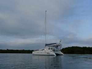 Double Wide at anchor at Caesar Creek