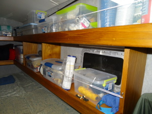 Another view of the shelving in the forward starboard stateroom