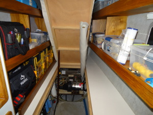 We reworked the storage under the forward starboard berth to provide easy access to the area.