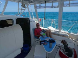 Rare moment of relaxation -- we were going 90 MPH most of the week because there is SO MUCH to take in!!