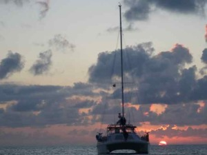 Double Wide at Sunset off Shroud Cay