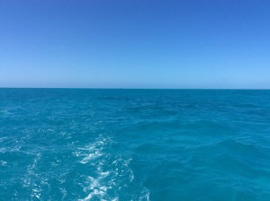 The Bimini Islands are behind us in the distance.
